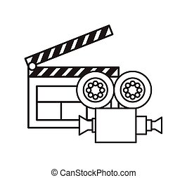 clapboard and video recorder