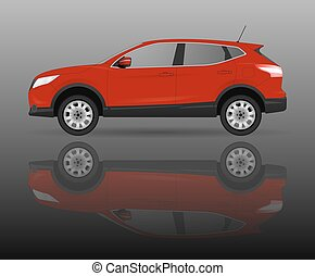 Realistic model car isolated on background. Detailed drawing. Vector illustration.