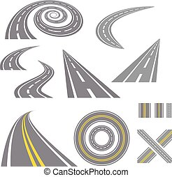 Asphalt curved roads. Highway vector illustration set