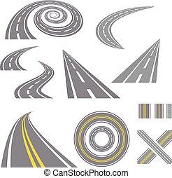 Asphalt curved roads.