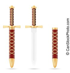 battle dagger medieval stock vector illustration