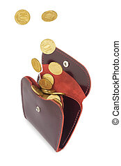 Coins fall into leather purse - Coins money fall into red...