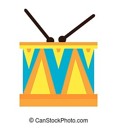 Isolated drum toy on a white background, Vector illustration