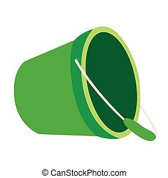 Isolated sand bucket toy on a white background, Vector...