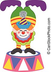 Clown on top of a circus platform - Scalable vectorial image...