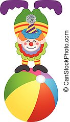 Clown on top of circus ball - Scalable vectorial image...