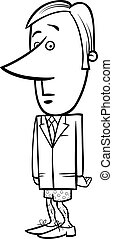 businessman without pants - Black and White Concept Cartoon...