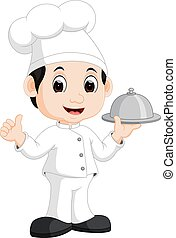 Cute little chef bringing the dishes - illustration of Cute...