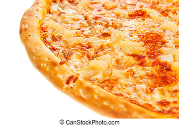 Part of delicious classic Hawaiian Pizza with chicken, pineapple, oregano and cheese