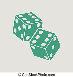Craps dice icon. Gray background with green. Vector...