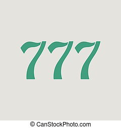 777 icon. Gray background with green. Vector illustration.