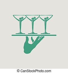 Waiter hand holding tray with martini glasses icon. Gray...
