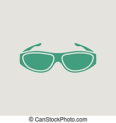 Poker sunglasses icon. Gray background with green. Vector...