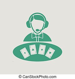 Casino dealer icon. Gray background with green. Vector...