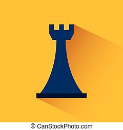 chess rook icon over yellow background. colorful design....