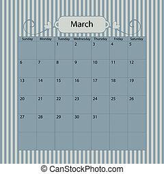 Blue Vector Calendar 2011 March