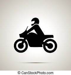 Motorcyclist simple black icon - Motorcyclist modern simple...
