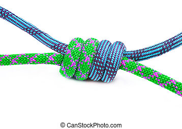 Knot for climbing isolated on white background - Climbing...