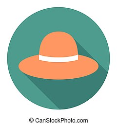vector round flat icon with woman hat. EPS
