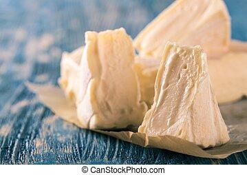 azul, queijo, Porções,  camembert, madeira, Poucos, tábua