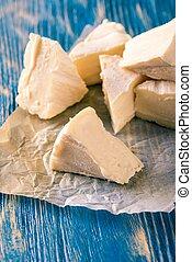azul, Porções,  camembert, madeira, tábua, vários