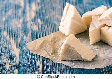 azul, queijo, Porções,  camembert, madeira, tábua, vários