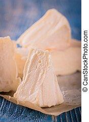 azul, queijo, Porções,  camembert, Poucos, tábua