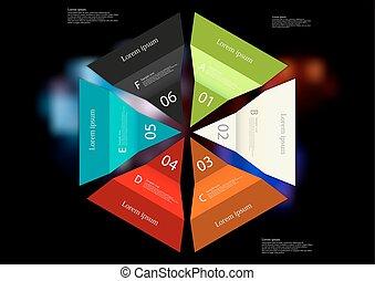 infographic, mal, kleur, zes, ineengevouwen, illustratie, Papier, Bladen