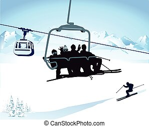 im Sessellift.eps - Skiing and chairlift in winter