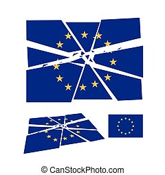 Broken European union flag simbol, vector isolated