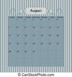 Blue Vector Calendar 2011 August