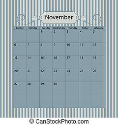 Blue Vector Calendar 2011 November