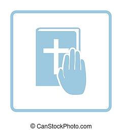 Hand on Bible icon. Blue frame design. Vector illustration.