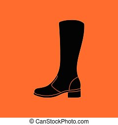 Autumn woman boot icon. Orange background with black. Vector...