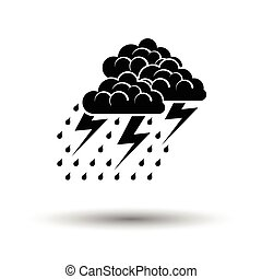 Thunderstorm icon. White background with shadow design....