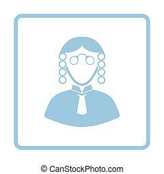 Judge icon. Blue frame design. Vector illustration.