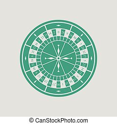 Roulette wheel icon. Gray background with green. Vector...