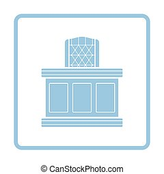 Judge table icon. Blue frame design. Vector illustration.
