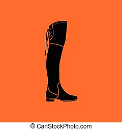 Hessian boots icon. Orange background with black. Vector...