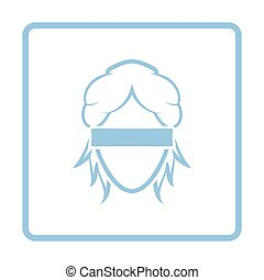 Femida head icon. Blue frame design. Vector illustration.