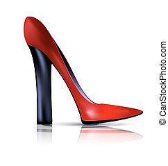 abstract red and black shoe - white background and the red...