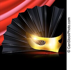 black fan and yellow mask - dark background, red drape and...
