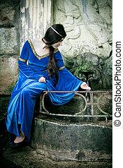 medieval, menina, logo, primavera