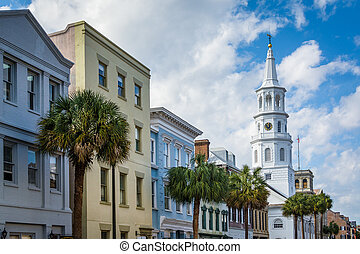 Buildings and palm trees along Broad Street, in Charleston,...