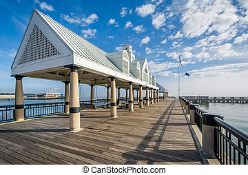 Fishing pier at the Waterfront Park, in Charleston, South...