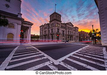 Long exposure of traffic at the Four Corners at sunset, in...