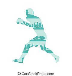 Boxing man vector background concept made of forest trees...