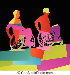 Men in a wheelchair disabled medical health silhouette...