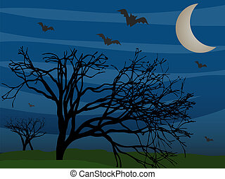 Bats Flying By Leafless Trees On Fo