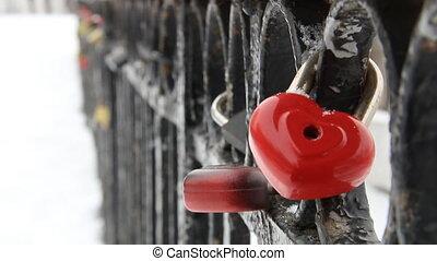 love padlock, heart shaped, in winter time - heart-shaped...
